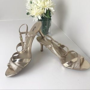 Fioni Gold Strappy Heels